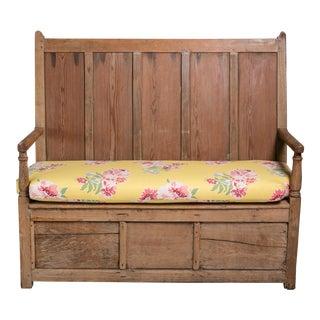 19th Century English Floral Cushion & Pine Bench