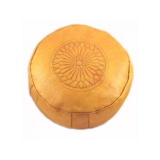 Yellow Leather Moroccan Pouf Ottoman