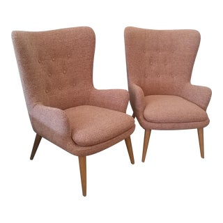 West Elm Niels Mid-Century Wingback Chairs in Chili Red Chenille - A Pair