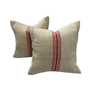 French Grain-Sack Pillows - Pair