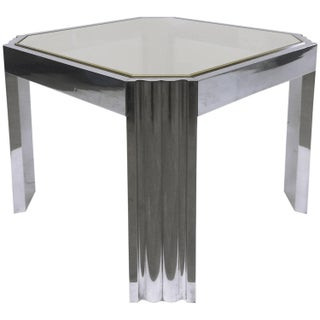 Milo Baughman Vintage Stainless & Brass Side Table