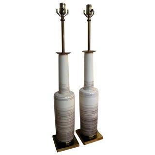 Stiffel Mid-Century Glaze Porcelain Lamps - A Pair