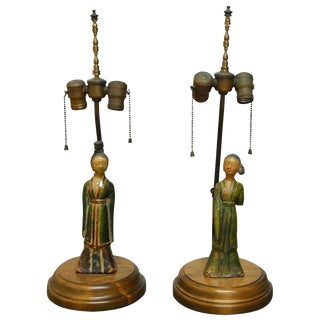 Tang Pottery Figures Mounted as Table Lamps - A Pair