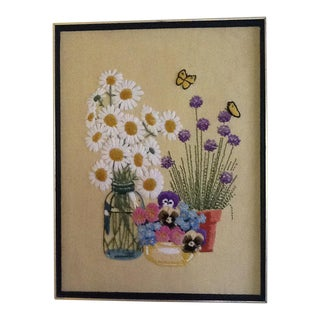 Vintage Flowers & Butterflies Needlepoint