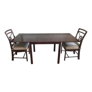 McGuire Dining Table and Pair of Dining Chairs