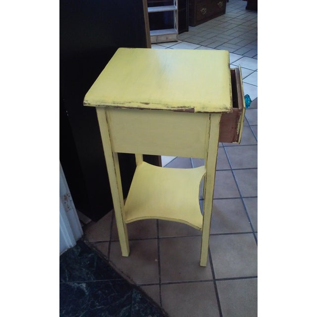Yellow Shabby Chic Vintage End Table - Image 3 of 3