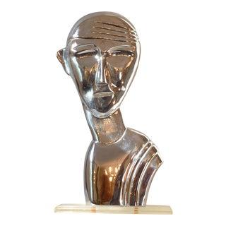 Chrome Sculpture of Head