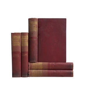 Antique Burgundy Works of George Eliot - Set of 5