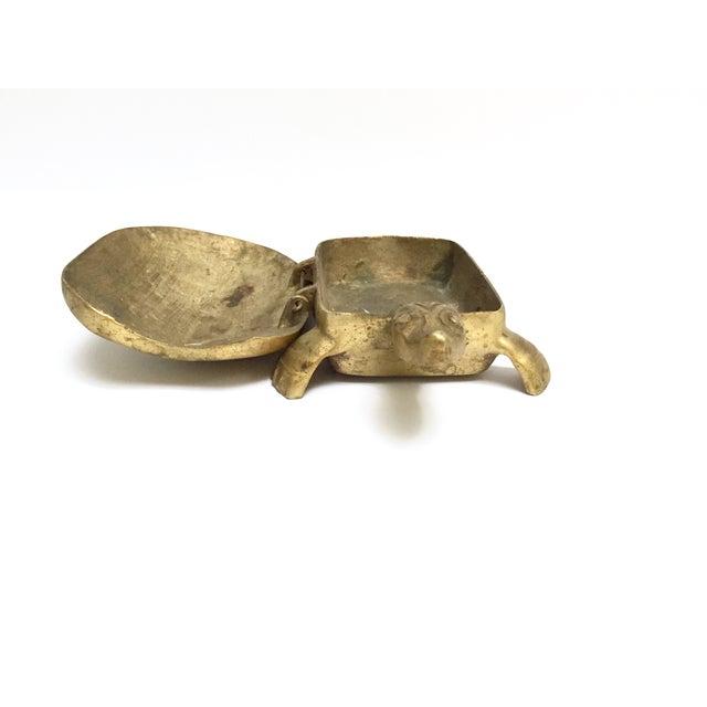 Image of Antique Lidded Brass Turtle Trinket Box