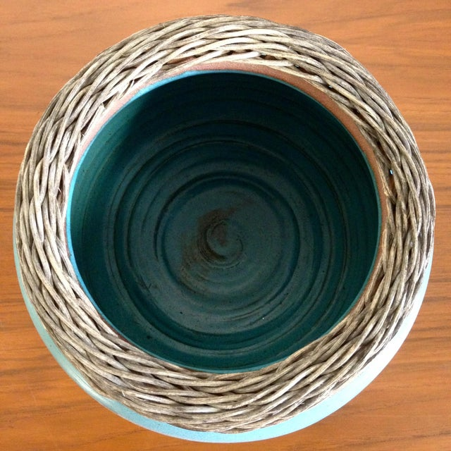 Weaved Wood And Teal Ceramic Vessel - Image 3 of 7