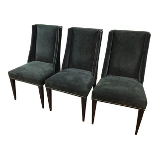 Transitional Dark Grey/Green Nailhead Trim Chairs - Set of 3