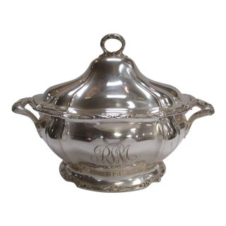 Silver Monogrammed Serving Bowl Tureen