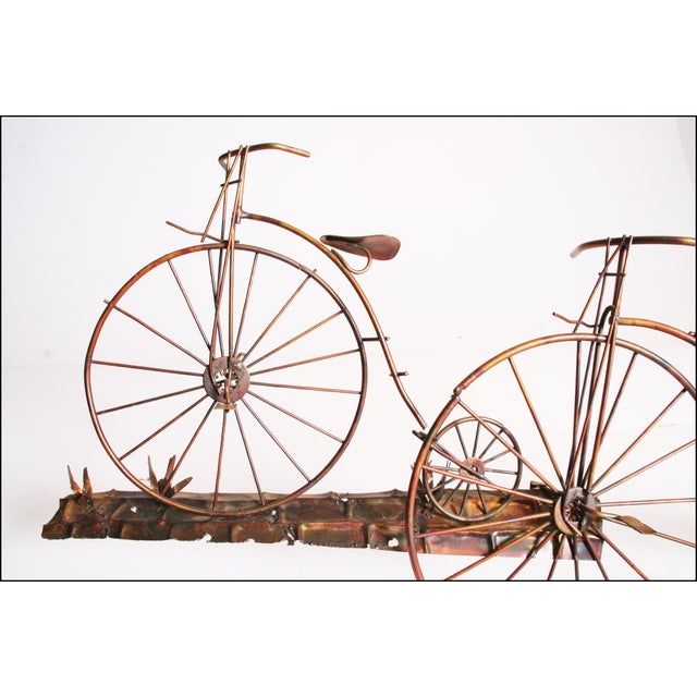 Mid Century Modern Gold Metal Penny Farthing Wall Art - Image 7 of 11