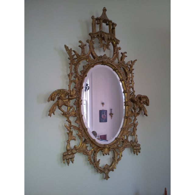 Image of Vintage Italian Giltwood Chippendale Style Mirror