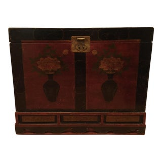 Antique Chinese Wood with Brass Fixtures Trunk