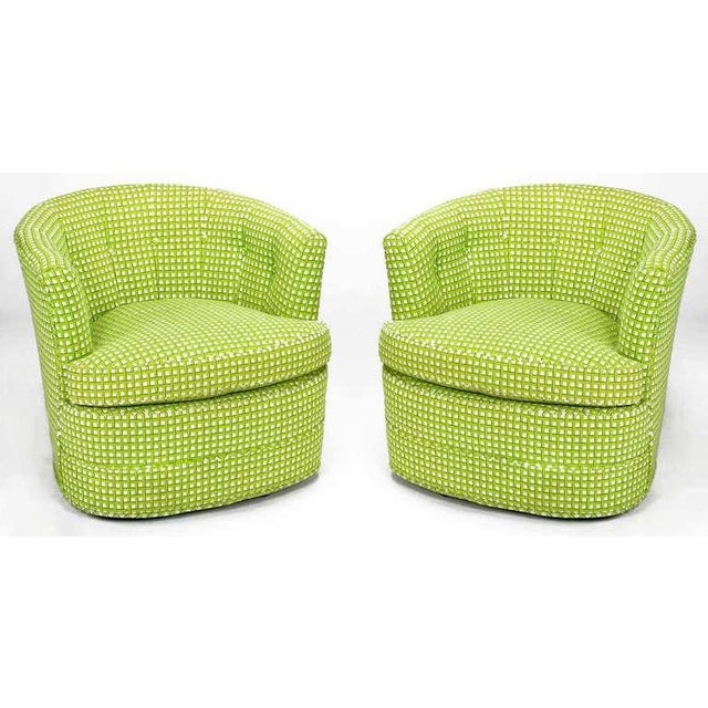 Pair Barrel Back Swivel Chairs In Chartreuse Needlepoint - Image 2 of 8