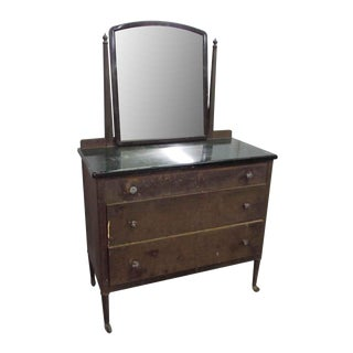 Vintage Metal Dresser with Mirror