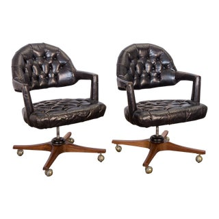 Pair of Dunbar Tufted Swivel Chairs