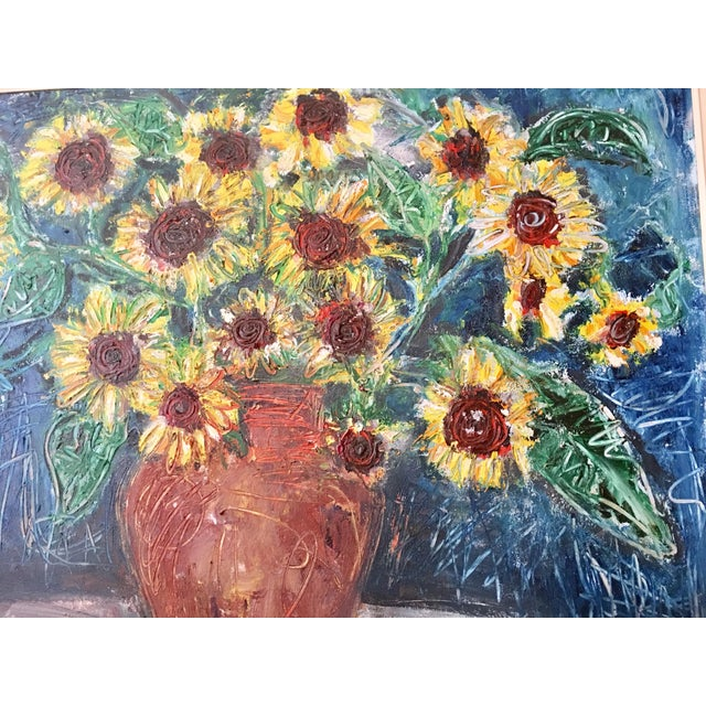 """Large """"Sunflower"""" Painting by Trieste - Image 4 of 6"""