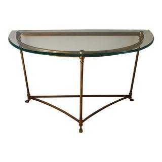 Brass & Glass Demi-Lune Table - Italian