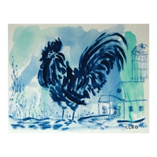 Blue Rooster Painting by Cleo