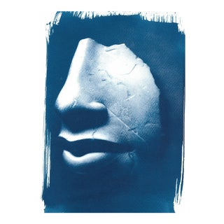 Limited Edition, Ancient Egyptian Nose and Mouth Sculpture, Cyanotype Print on Watercolor Paper