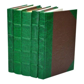 Leather Texture Parchment Green Books - Set of 5