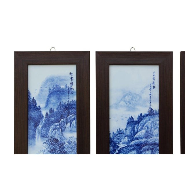 Chinese Blue & White Porcelain Wall Panels - Set of 4 - Image 2 of 6