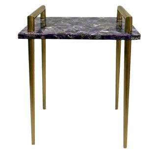 Malachite Stone Metal Handle Bar Table