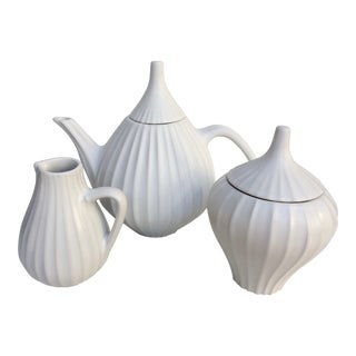 Jonathan Adler Pot Au Porter Line White Tea Set - S/3