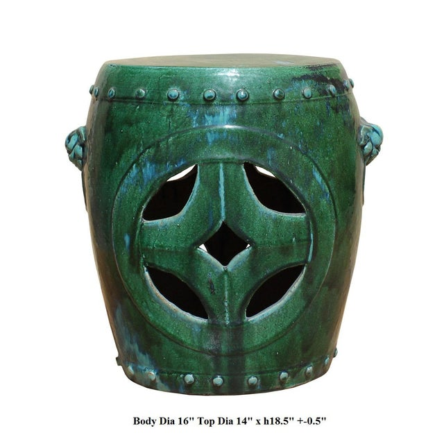 Chinese Distressed Turquoise Green Round Clay Ceramic