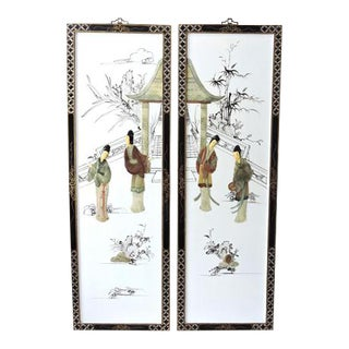 White Lacquer Oriental Wall Hangings - A Pair