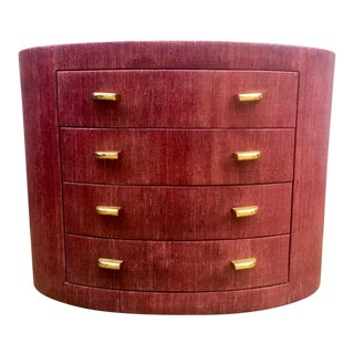 Karl Springer Style Purple Lacquered Cloth Chest