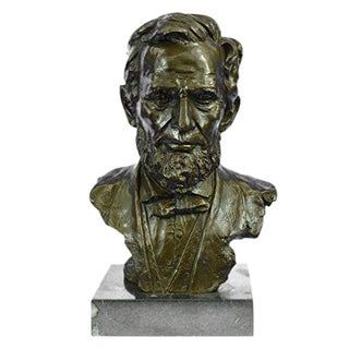 President Abraham Lincoln Bronze Sculpture on Marble Base Statue