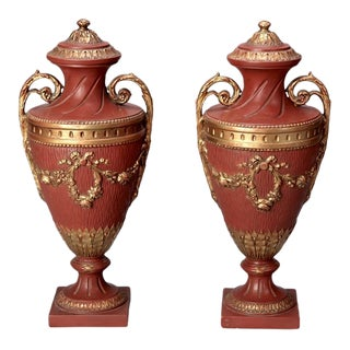Neoclassical Style Terra Cotta Urns With Gilded Trim - a Pair