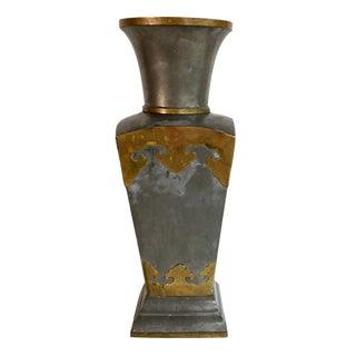 Vintage Asian Pewter & Brass Vase