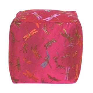 Pink Dragonfly Silk Brocade Cube Pillow