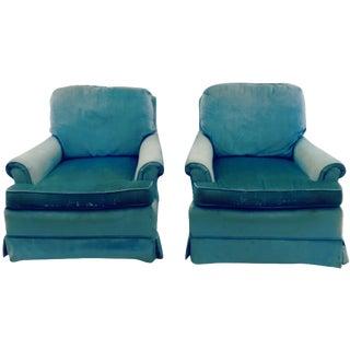 Vintage Laine Blue Velvet Club Chairs - A Pair