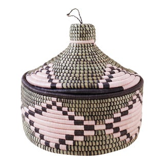 Lidded Marrakech Basket - Navy & Pink