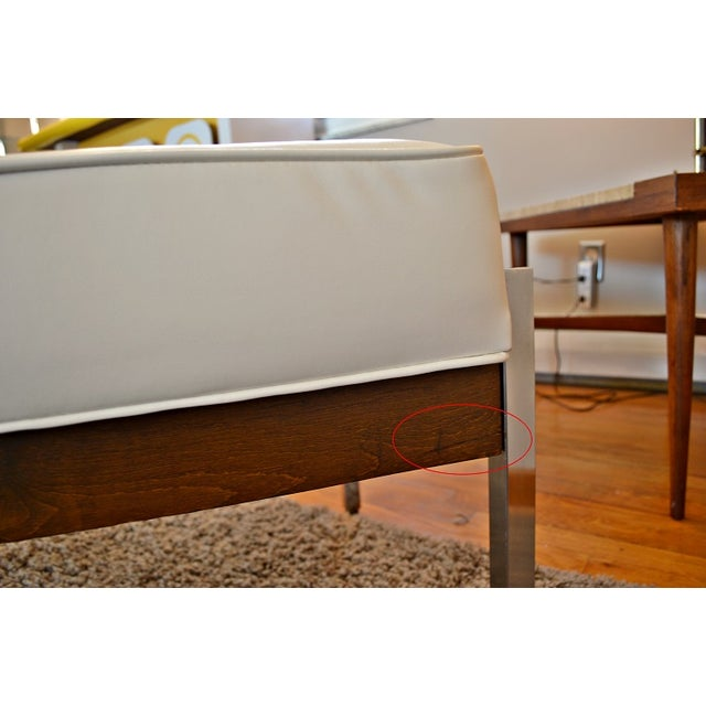 1970s Milo Baughman Style Tufted Chrome Bench - Image 6 of 7