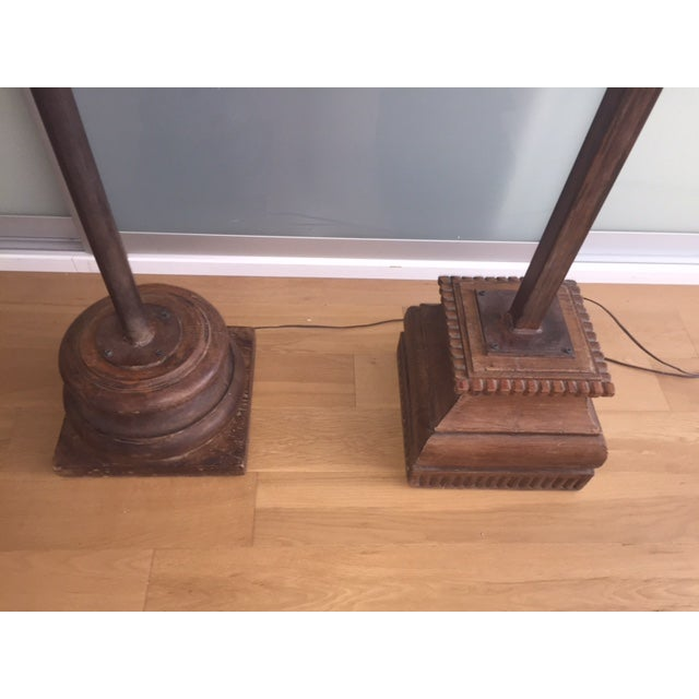 Antique Asian Wood & Metal Floor Lamps - A Pair - Image 4 of 7