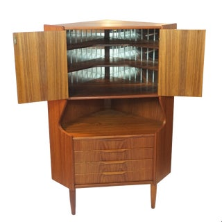 Danish Modern 4 Drawer Teak Corner Bar / Cabinet