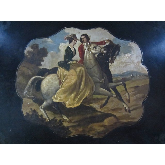 Antique Tole Painted Tray Equestrian Scene - Image 3 of 6