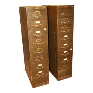 Vintage Industrial Metal Filing Cabinets - Pair