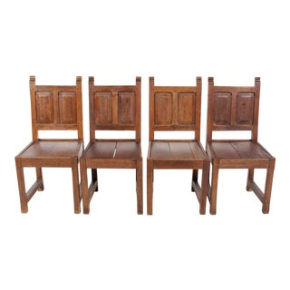 1920s Elizabethan Style Paneled Chairs - Set of 4