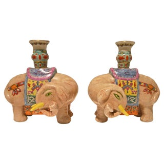 Hand Painted Asian Elephant Candleholders - A Pair