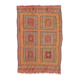Vintage Colorful Turkish Kilim Rug - 5′1″ × 7′6″