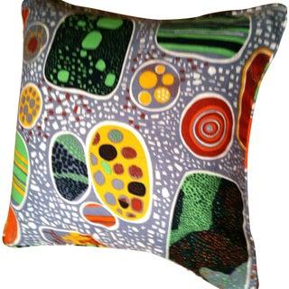 Gray Green Print Pillows - A Pair