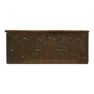 English Carved Oak Box from the 1600s