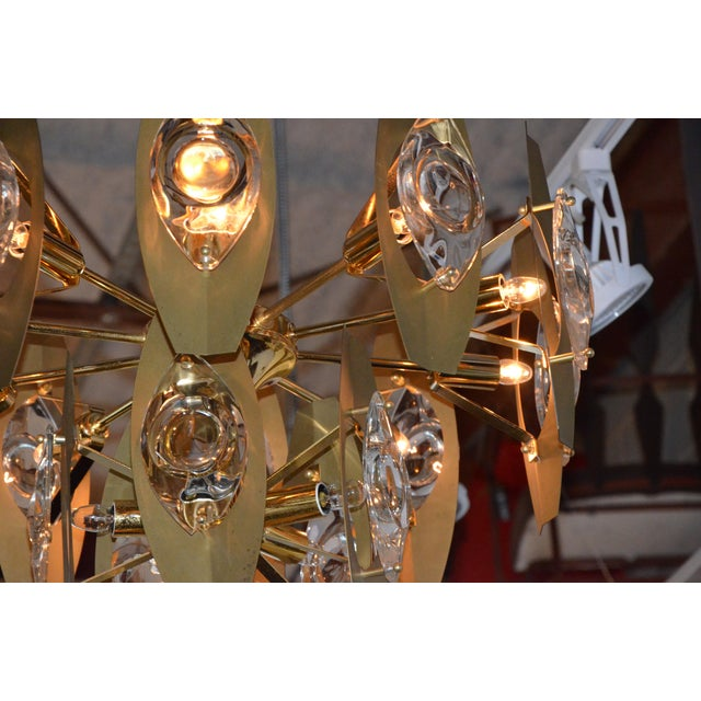 Brutalist Sonneman Brass and Cut Glass Chandelier - Image 4 of 6
